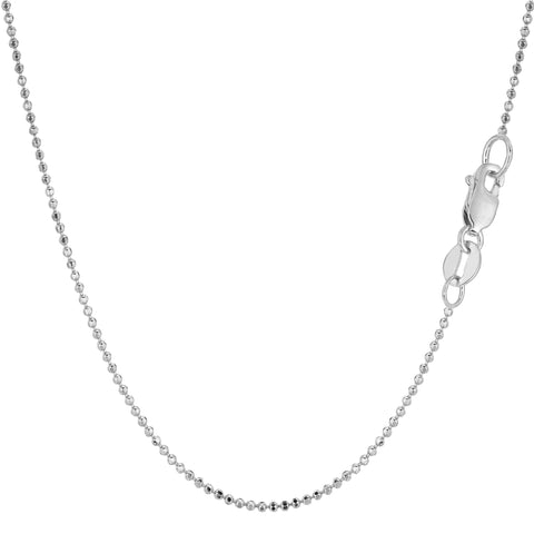 14k White Gold Diamond Cut Bead Chain Necklace, 1.2mm - JewelryAffairs  - 1