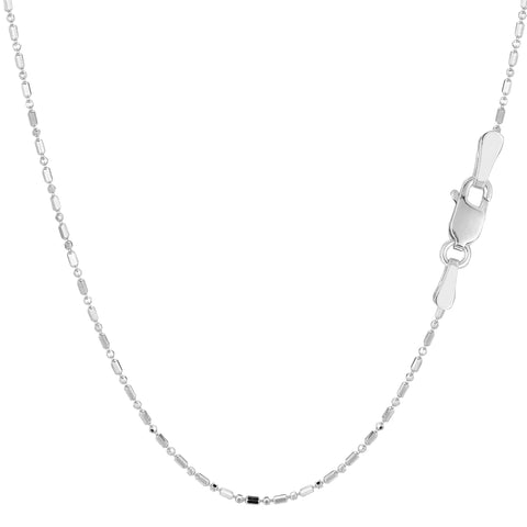 14k White Gold Diamond Cut Bead Chain Necklace, 1.0mm