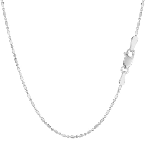 14k White Gold Diamond Cut Bead Chain Necklace, 1.2mm