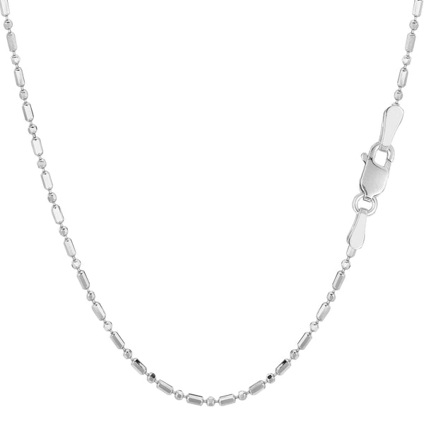 14k White Gold Diamond Cut Bead Chain Necklace, 1.5mm - JewelryAffairs  - 1