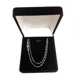 14k White Gold Diamond Cut Bead Chain Necklace, 1.5mm