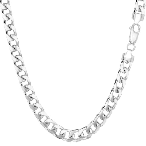 14k White Solid Gold Miami Cuban Link Chain Necklace, Width 5mm