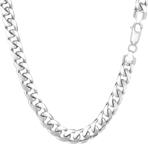 14k White Solid Gold Miami Cuban Link Chain Necklace, Width 5.8mm