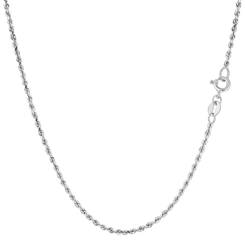 14k White Solid Gold Diamond Cut Rope Chain Necklace, 1.25mm