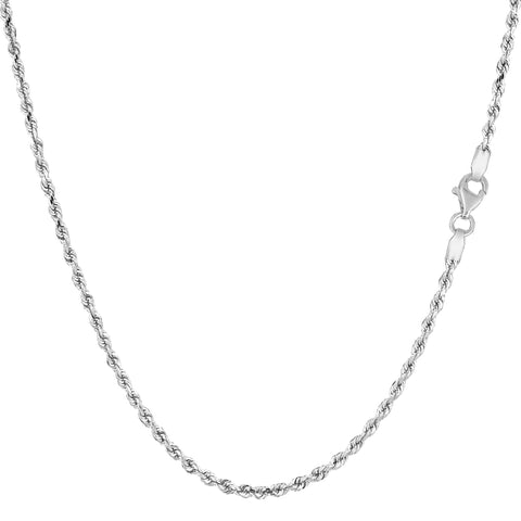 14k White Gold Solid Diamond Cut Royal Rope Chain Necklace, 1.5mm