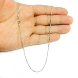 14k White Solid Gold Diamond Cut Rope Chain Necklace, 1.5mm