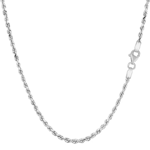 14k White Solid Gold Diamond Cut Rope Chain Necklace, 2.0mm