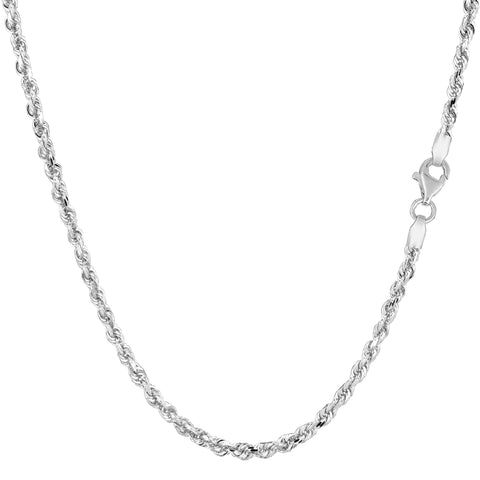 14k White Gold Solid Diamond Cut Royal Rope Chain Necklace, 2.25mm
