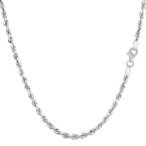14k White Gold Solid Diamond Cut Royal Rope Chain Necklace, 2.5mm