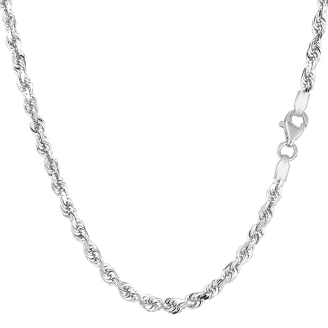 14k White Gold Solid Diamond Cut Royal Rope Chain Necklace, 3mm