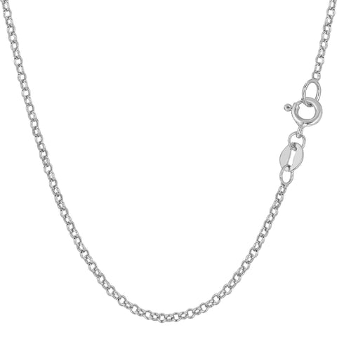 14k White Gold Round Rolo Link Chain Necklace, 1.85mm - JewelryAffairs  - 1
