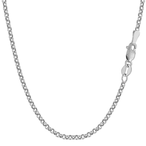 14k White Solid Gold Round Rolo Link Chain Bracelet, 2.3mm, 7""
