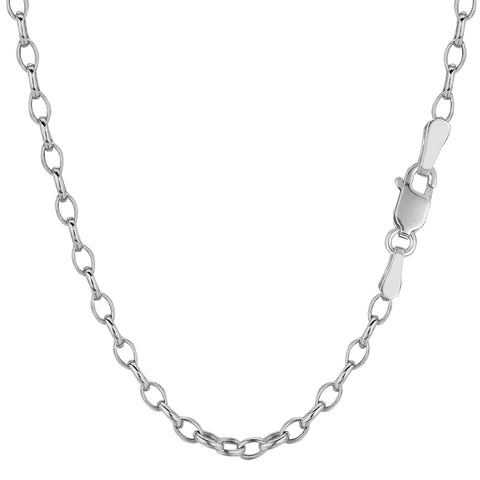 "14k White Gold Oval Rolo Link Chain Necklace, 3.2mm, 18"" - JewelryAffairs  - 1"
