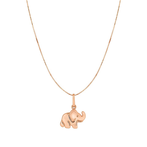 10K Rose Gold Elephant Pendant Necklace, 18""
