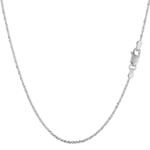 14k White Gold Sparkle Chain Necklace, 0.9mm - JewelryAffairs  - 1