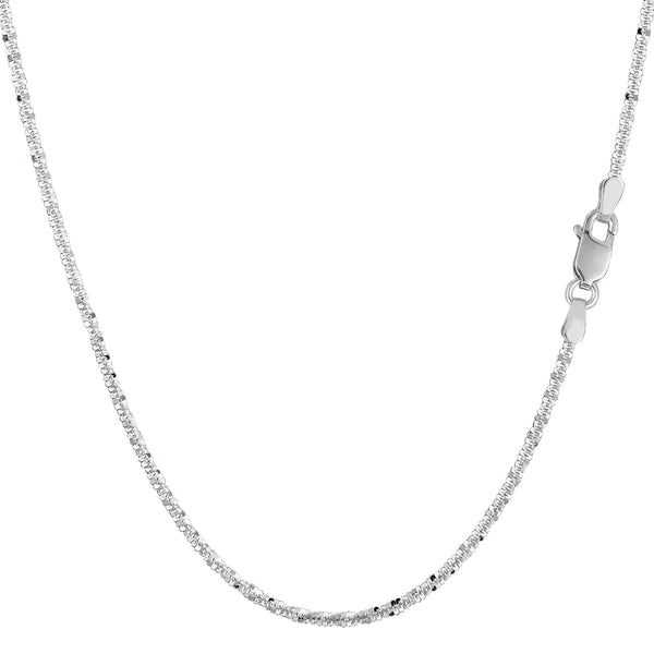 14k White Gold Sparkle Chain Necklace, 1.5mm - JewelryAffairs  - 1
