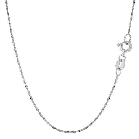 14k White Gold Singapore Chain Necklace, 1.0mm
