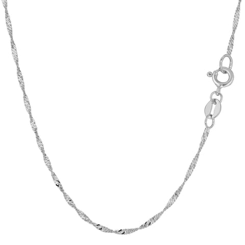 14k White Gold Singapore Chain Bracelet, 1.5mm, 10""