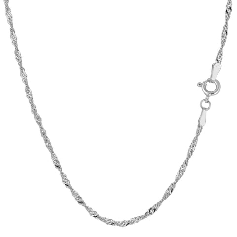 14k White Gold Singapore Chain Necklace, 1.7mm