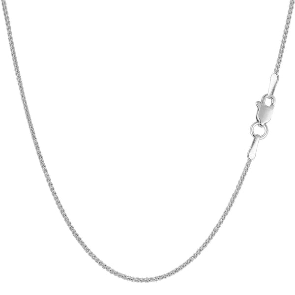 14k White Gold Round Wheat Chain Necklace, 1.0mm
