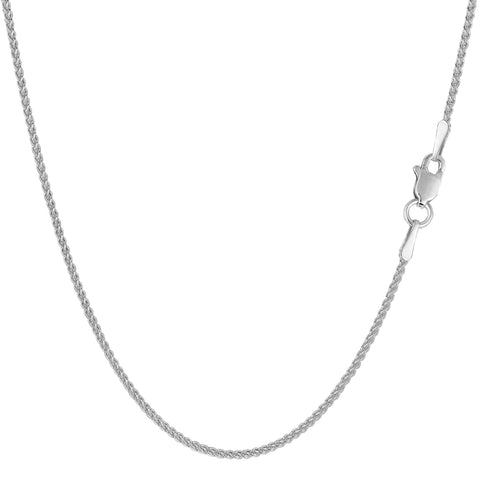 14k White Gold Round Wheat Chain Necklace, 1.2mm - JewelryAffairs  - 1