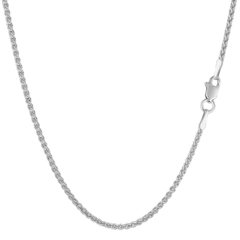 14k White Gold Round Wheat Chain Necklace, 1.5mm - JewelryAffairs  - 1