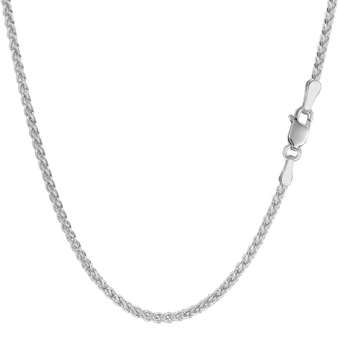 14k White Gold Round Wheat Chain Necklace, 2.1mm