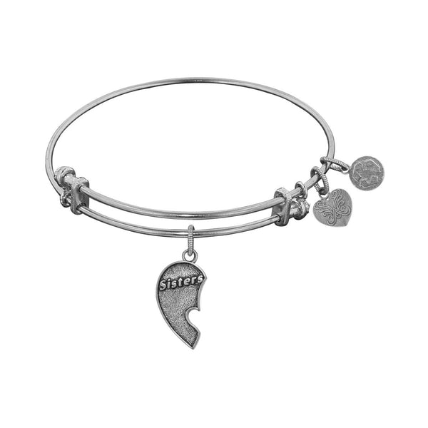 Stipple Finish Brass Left-Half Heart Sisters Angelica Bangle Bracelet, 7.25""