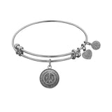 Smooth Finish Brass Peace Symbol Angelica Bangle Bracelet, 7.25""