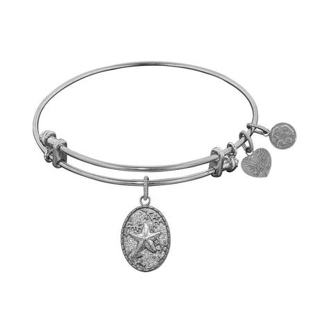 Stipple Finish Brass Starfish  Angelica Bangle Bracelet, 7.25""