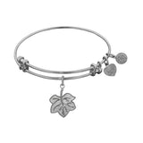 Stipple Finish Brass Leaf Angelica Bangle Bracelet, 7.25""