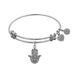 Stipple Finish Brass Hamsa Angelica Bangle Bracelet, 7.25""