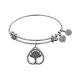 Stipple Finish Brass Tree Of Life Angelica Bangle Bracelet, 7.25""