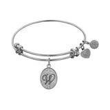 White Brass Initial Letter Angelica Bangle Bracelet, 7.25""
