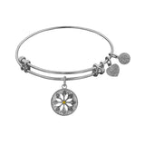 Non-Antique  Stipple Finish Brass Daisy Flower Angelica Bangle Bracelet