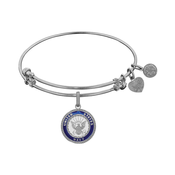 U.S. Navy With Enamel Charm Expandable Bangle Bracelet, 7.25""