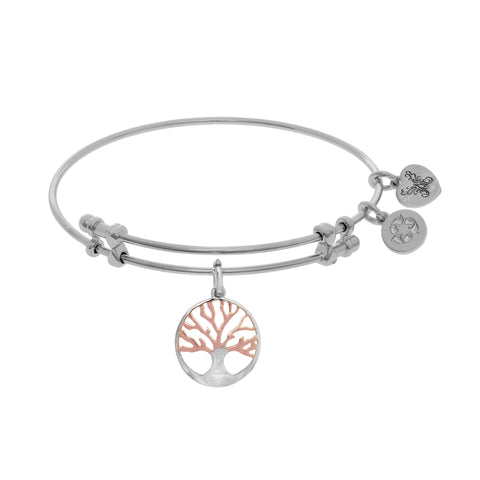 Pink And White Finish Tree Of Life Charm Expandable Bangle Bracelet, 7.25""