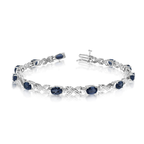 10K White Gold Oval Sapphire Stones And Diamonds Tennis Bracelet, 7""