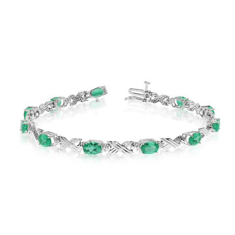 10K White Gold Oval Emerald Stones And Diamonds Tennis Bracelet, 7""