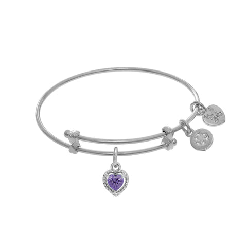 February Heart Shape CZ Birthstone Charm Expandable Tween Bangle Bracelet