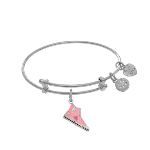 High Top Pink Enamel Shoe Charm Expandable Tween Bangle Bracelet
