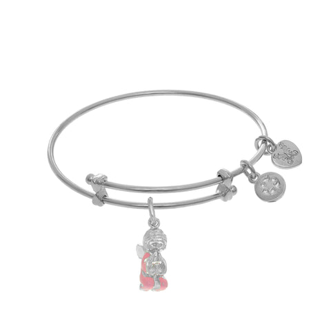 Praying Angel Enamel Charm Adjustable Bangle Girls Bracelet