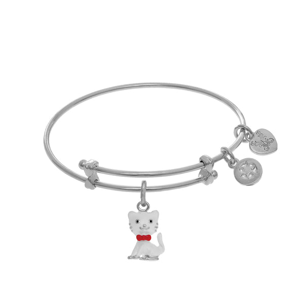 Enamel Cat Charm Expandable Tween Bangle Bracelet