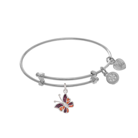 Enamel Butterfly Charm Expandable Tween Bangle Bracelet