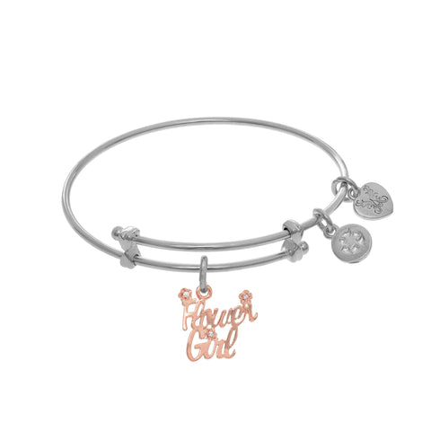 Flower Girl Charm Expandable Tween Bangle Bracelet