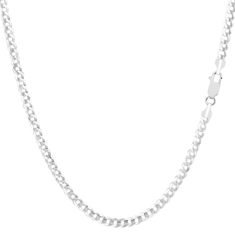 14k White Solid Gold Comfort Curb Chain Bracelet, 2.7mm, 10""