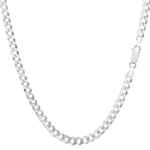 14k White Solid Gold Comfort Curb Chain Bracelet, 3.6mm, 7""