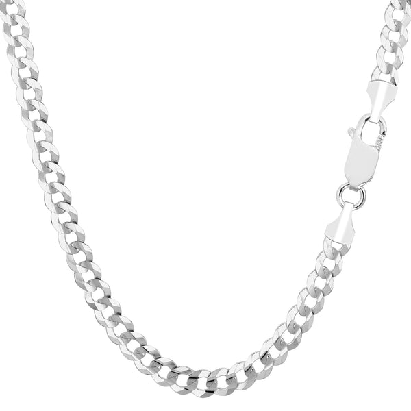 14k White Solid Gold Comfort Curb Chain Bracelet, 4.7mm, 8""