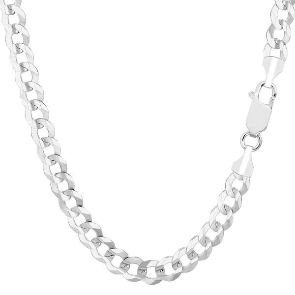 14k White Solid Comfort Curb Chain Bracelet, 5.7mm, 8.5""