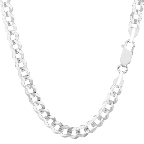 14k White Gold Comfort Curb Chain Necklace, 5.7mm - JewelryAffairs  - 1